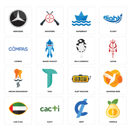 Set Of 16 simple editable icons such as pomelo, cent, cacti, uae flag, humming bird, mercedes, compas, indian restaurant, milk company can be used for mobile, web UI