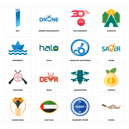 Set Of 16 simple editable icons such as chisel, passport stamp, uae flag, snake head, pomelo, no 1, paperboat, shooters, handicap accessible can be used for mobile, web UI Standard-Bild - 102548867