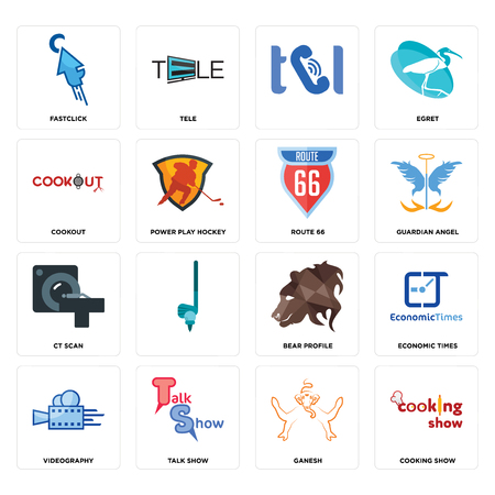 Set Of 16 simple editable icons such as cooking show, ganesh, talk videography, economic times, fastclick, cookout, ct scan, route 66 can be used for mobile, web UI Illusztráció