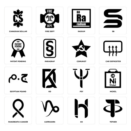 Set Of 16 simple editable icons such as tether, hh, capricorn, pancreatic cancer, nickel, canadian dollar, patent pending, egyptian pound, comunist can be used for mobile, web UI Illustration