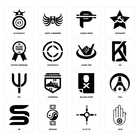 Set Of 16 simple editable icons such as jain, n s e w, qigong, sb, psg, oligarchy, patent pending, psi, hang ten can be used for mobile, web UI