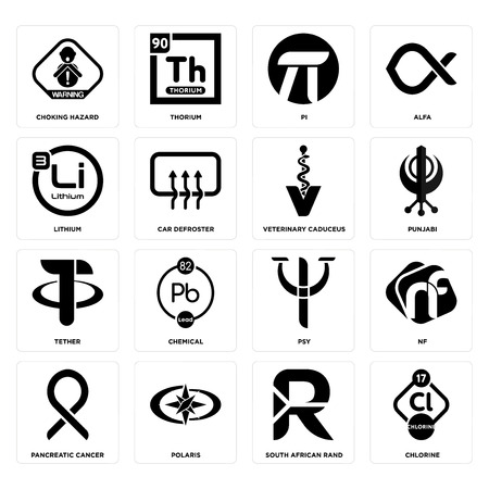 Set Of 16 simple editable icons such as chlorine, south african rand, polaris, pancreatic cancer, nf, choking hazard, lithium, tether, veterinary caduceus can be used for mobile, web UI