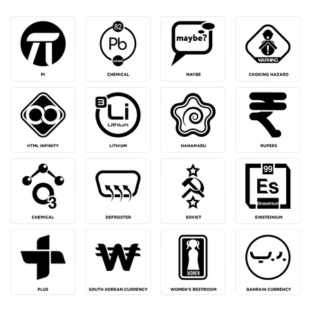 Set Of 16 Simple Editable Icons Such As Bahrain Currency Womens