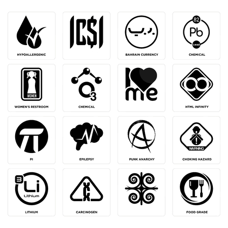 Set Of 16 simple editable icons such as food grade, , carcinogen, lithium, choking hazard, hypoallergenic, women's restroom, pi, can be used for mobile, web UI