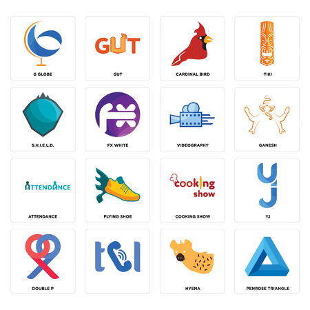 Set Of 16 simple editable icons such as penrose triangle, hyena, , double p, yj, g globe, s.h.i.e.l.d., attendance, videography can be used for mobile, web UI