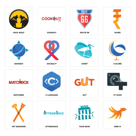 Set Of 16 simple editable icons such as bird m, fake bank, attendance, pet groomer, ct scan, pack wolf, geodesy, matchbox, egret can be used for mobile, web UI