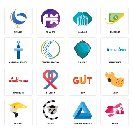 Set Of 16 simple editable icons such as pinup, penrose triangle, lemur, hornbill, hyena, g globe, christian school, firehouse, s.h.i.e.l.d. can be used for mobile, web UI Illustration