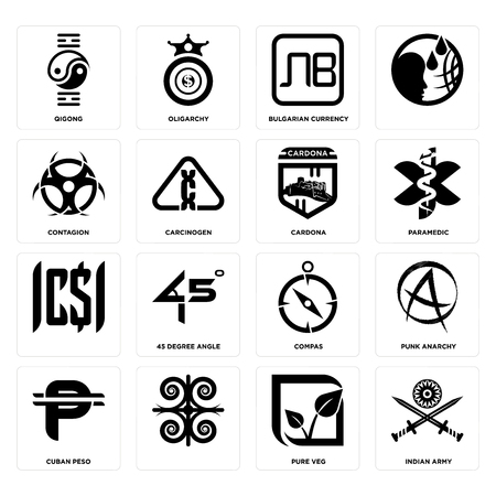 Set Of 16 simple editable icons such as indian army, pure veg, cuban peso, punk anarchy, qigong, contagion, cardona can be used for mobile, web UI