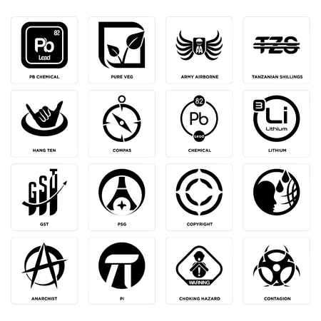 Set Of 16 simple editable icons such as contagion, choking hazard, pi, anarchist, , pb chemical, hang ten, gst, chemical can be used for mobile, web UI