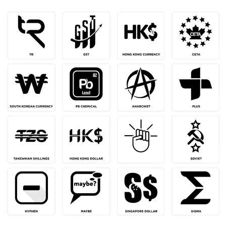 Set Of 16 Simple Editable Icons Such As Sigma Singapore Dollar