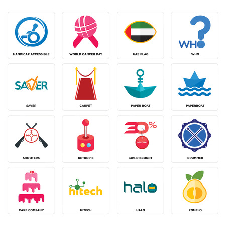 Set Of 16 simple editable icons such as pomelo, halo, hitech, cake company, drummer, handicap accessible, saver, shooters, paper boat can be used for mobile, web UI Standard-Bild - 102549915