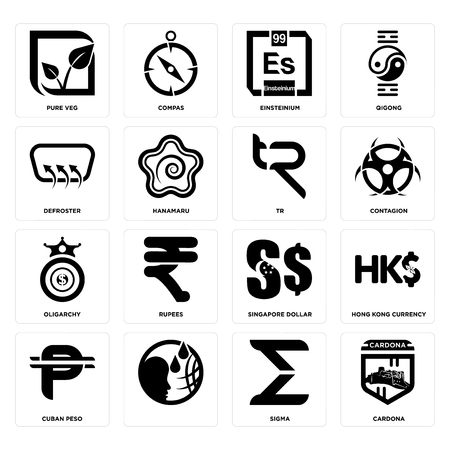 Set Of 16 Simple Editable Icons Such As Cardona Sigma Cuban