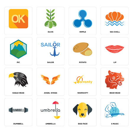 Set Of 16 simple editable icons such as s music, dog face, umbrella, dumbbell, bear head, , pic, eagle potato can be used for mobile, web UI