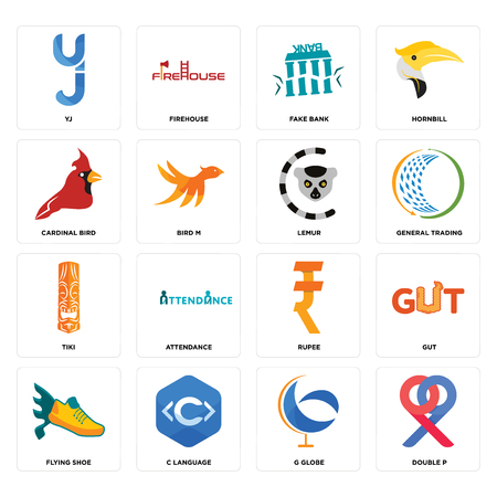 Set Of 16 simple editable icons such as double p, g globe, c language, flying shoe, gut, yj, cardinal bird, tiki, lemur can be used for mobile, web UI Illustration