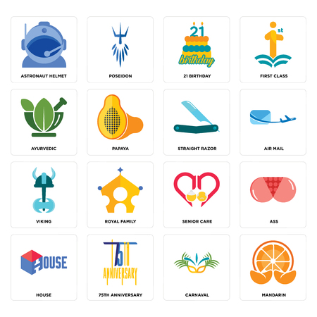 Set Of 16 simple editable icons such as mandarin, carnaval, 75th anniversary, house, ass, astronaut helmet, ayurvedic, viking, straight razor can be used for mobile, web UI