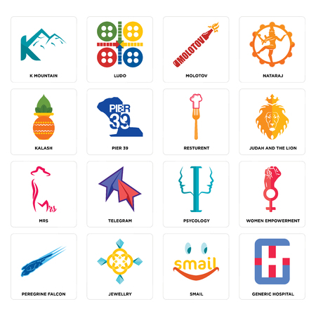 Set Of 16 simple editable icons such as generic hospital, smail, jewellry, peregrine falcon, women empowerment, k mountain, kalash, mrs, resturent can be used for mobile, web UI