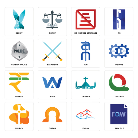 Set Of 16 simple editable icons such as raw file, emlak, omega, church, quiznos, deceit, generic police, rupees, ain can be used for mobile, web UI Illustration