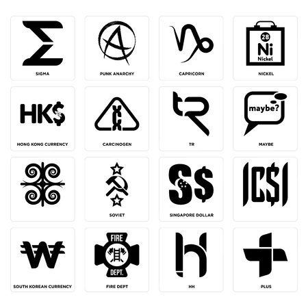 Set Of 16 simple editable icons such as plus, hh, fire dept, south korean currency, , sigma, hong kong tr can be used for mobile, web UI