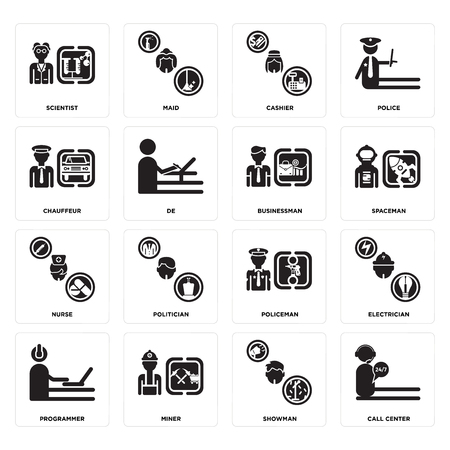 Set Of 16 simple editable icons such as call center, Showman, Miner, Programmer, Electrician, Scientist, Chauffeur, Nurse, Businessman can be used for mobile, web UI 向量圖像