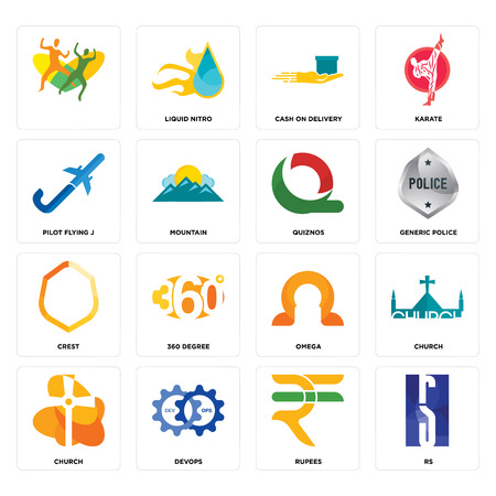 Set Of 16 simple editable icons such as rs, rupees, devops, church, , pilot flying j, crest, quiznos can be used for mobile, web UI