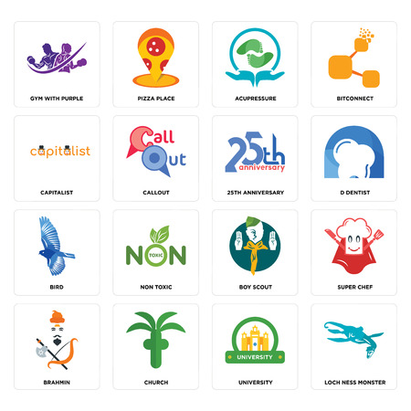 Set Of 16 simple editable icons such as loch ness monster, university, church, brahmin, super chef, gym with purple, capitalist, bird, 25th anniversary can be used for mobile, web UI Illustration