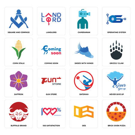 Set Of 16 simple editable icons such as brick oven pizza, oes, 100 satisfaction, buffalo brand, never give up, square and compass, corn stalk, saffron, shoes with wings can be used for mobile, web UI