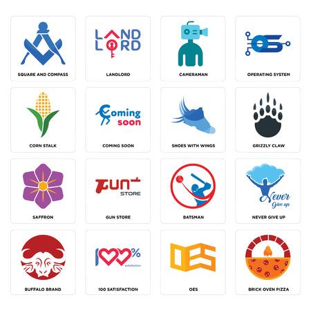 Conjunto de 16 iconos editables sencillos como pizza de horno de ladrillo, oes, 100 satisfacción, marca búfalo, nunca te rindas, cuadrado y brújula, tallo de maíz, azafrán, zapatos con alas puede utilizarse para móviles, la interfaz web.