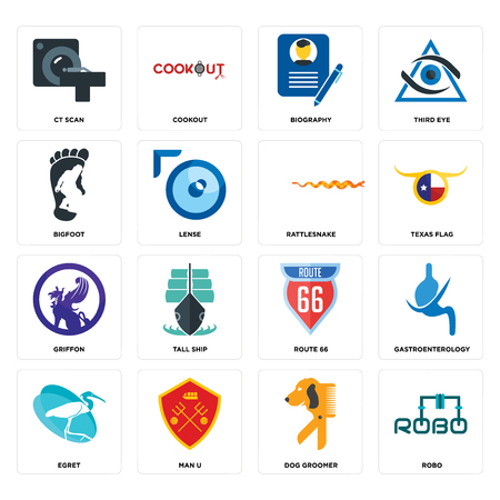 Set Of 16 simple editable icons such as robo, dog groomer, man u, egret, gastroenterology, ct scan, bigfoot, griffon, rattlesnake can be used for mobile, web UI  イラスト・ベクター素材