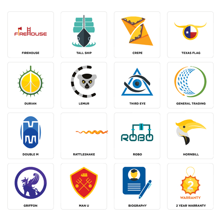 Set Of 16 simple editable icons such as 2 year warranty, biography, man u, griffon, hornbill, firehouse, durian, double m, third eye can be used for mobile, web UI Banque d'images - 102549796