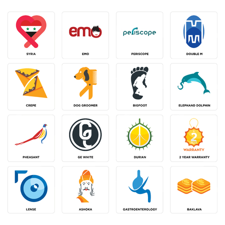 Set Of 16 simple editable icons such as baklava, gastroenterology, ashoka, lense, 2 year warranty, syria, crepe, pheasant, bigfoot can be used for mobile, web UI