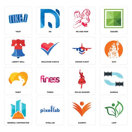 Set Of 16 simple editable icons such as leaf, ganpati, pixellab, general contractor, gurkha, tiket, liberty bell, rabit, honor flight can be used for mobile, web UI Illustration