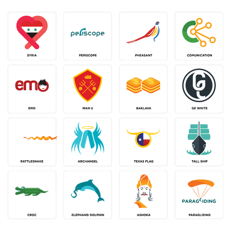 Set Of 16 simple editable icons such as paragliding, ashoka, elephand dolphin, croc, tall ship, syria, emo, rattlesnake, baklava can be used for mobile, web UI