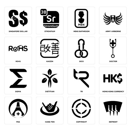Set Of 16 simple editable icons such as defrost, copyright, hang ten, psg, hong kong currency, singapore dollar, rohs, sigma, dick can be used for mobile, web UI