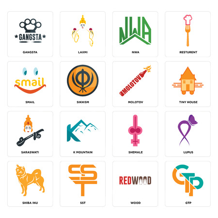 Set Of 16 simple editable icons such as gtp, wood, sst, shiba inu