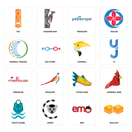 Set Of 16 simple editable icons such as baklava, emo, lemur, coast guard, cardinal bird, tiki, general trading, firehouse, hornbill can be used for mobile, web UI  イラスト・ベクター素材