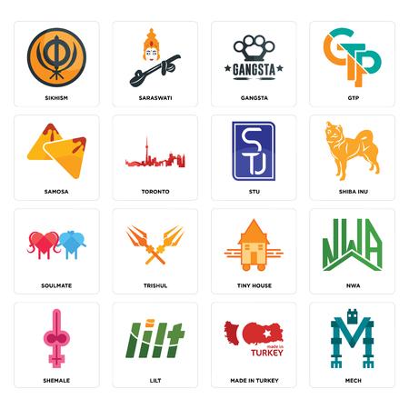 Conjunto de 16 iconos editables sencillos como mech, made in turkey, lilt, shemale, nwa, sikhism, samosa, soulmate, stu puede utilizarse para móviles, la interfaz web.