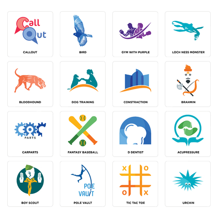 Set Of 16 simple editable icons such as urchin, tic tac toe, pole vault, boy scout, acupressure, callout, bloodhound, carparts, constraction can be used for mobile, web UI Ilustracja