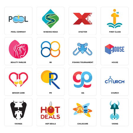 Set Of 16 simple editable icons such as viking, childcare, hot deals, vikings, church, pool company, beauty parlor, senior care, fishing tournament can be used for mobile, web UI