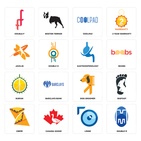 Set Of 16 simple editable icons such as double m, lense, canada goose, crepe, bigfoot, f, javelin, durian, gastroenterology can be used for mobile, web UI Ilustração