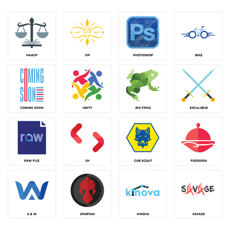 Set Of 16 simple editable icons such as savage, kinova, spartan, a & w, foodora, naacp, coming soon, raw file, big frog can be used for mobile, web UI