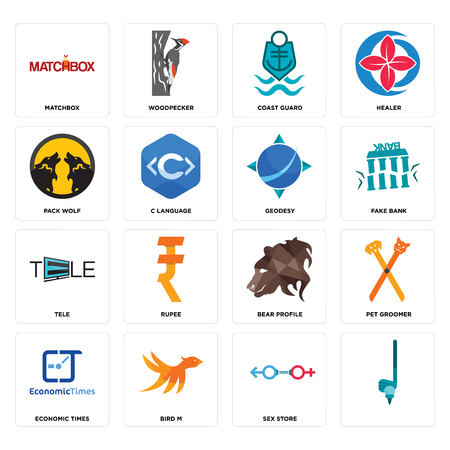 Set Of 16 simple editable icons such as, sex store, bird m, economic times, pet groomer, matchbox, pack wolf, tele, geodesy can be used for mobile, web UI Ilustração
