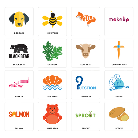 Set Of 16 simple editable icons such as potato, sprout, cute bear, salmon, s music, dog face, black make up, cow head can be used for mobile, web UI