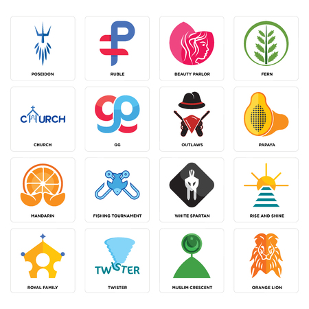 Set Of 16 simple editable icons such as orange lion, muslim crescent, twister, royal family, rise and shine, poseidon, church, mandarin, outlaws can be used for mobile, web UI