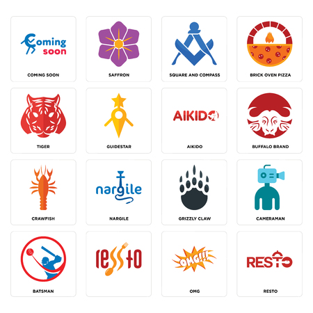 Set Of 16 simple editable icons such as resto, omg, , batsman, cameraman, coming soon, tiger, crawfish, aikido can be used for mobile, web UI Foto de archivo - 102629250