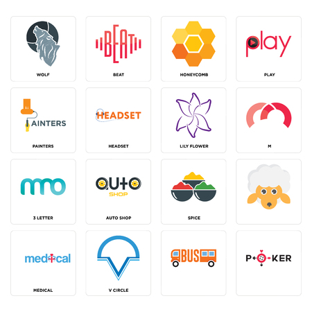 Set Of 16 simple editable icons such as, v circle, medical, wolf, painters, 3 letter, lily flower can be used for mobile, web UI