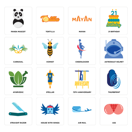 Set Of 16 simple editable icons such as ass, air mail, house with wings, straight razor, thumbprint, panda mascot, carnaval, ayurvedic, cheerleader can be used for mobile, web UI