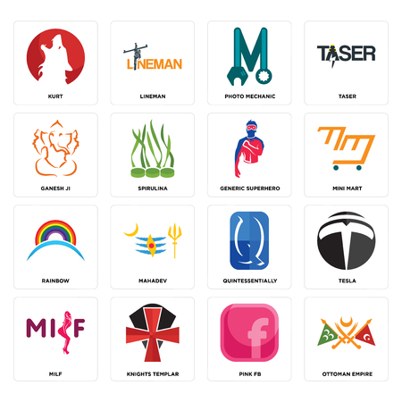 Set Of 16 simple editable icons such as ottoman empire, pink fb, knights templar, milf, tesla, kurt, ganesh ji, rainbow, generic superhero can be used for mobile, web UI Çizim