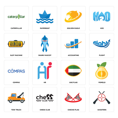 Set Of 16 simple editable icons such as shooters, checke flag, chess club, tow truck, pomelo, caterpillar, slot machine, compas, accounting can be used for mobile, web UI Standard-Bild - 102946798