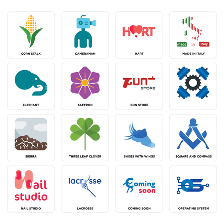 Set Of 16 simple editable icons such as operating system, coming soon, lacrosse, nail studio, square and compass, corn stalk, elephant, sierra, gun store can be used for mobile, web UI Stock Illustratie