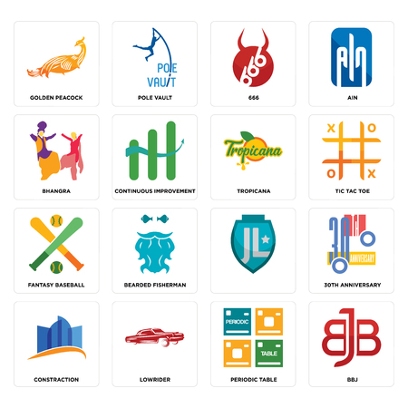 Set Of 16 simple editable icons such as bbj, periodic table, lowrider, constraction, 30th anniversary, golden peacock, bhangra, fantasy baseball, tropicana can be used for mobile, web UI Ilustração